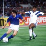 1990 World Cup Finals, Rome, Italy, 14th June, 1990, Italy 1 v USA 0, Italy's Roberto Donadoni is challenged for the ball by USA's Jimmy Banks