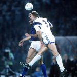 1990 World Cup Finals, Rome, Italy, 14th June, 1990, Italy 1 v USA 0, Italy's Andrea Carnavale is challenged for the ball in the air by USA's John Doyle