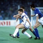 1990 World Cup Finals, Rome, Italy, 14th June, 1990, Italy 1 v USA 0, USA's Peter Vermes is put under pressure by Italian defenders