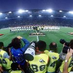 1990 World Cup Finals, Rome, Italy, 14th June, 1990, Italy 1 v USA 0, A group of photographers in position as the teams line up for the national anthems in the Stadio Olimpico before the match
