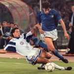 Italian defender Paolo Maldini (R) is ta