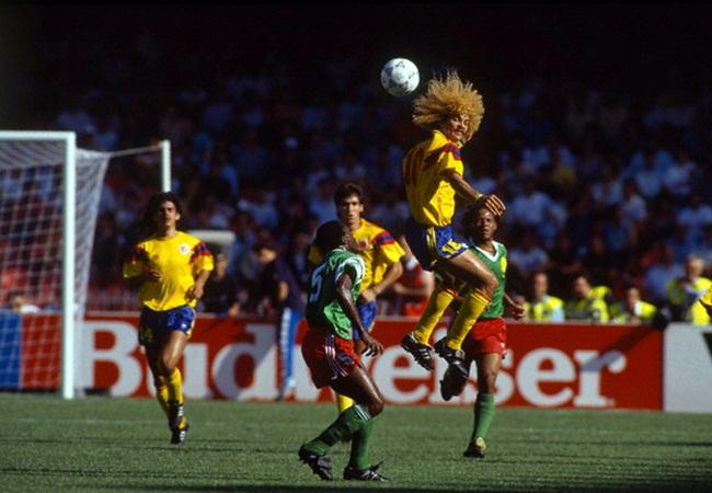 Camerun-Colombia 2-1; stacco di Valderrama