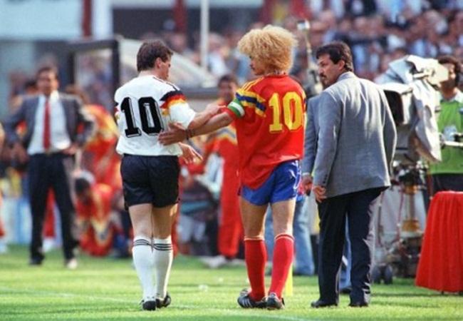 Germania-Colombia 1-1; i due numeri 10 Matthaus e Valderrama