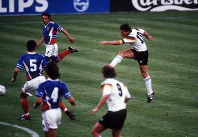 Germania-Jugoslavia 4-1; la rete di Matthaus del 3-1
