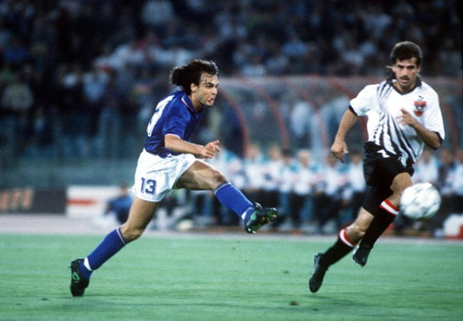 Italia-Austria 1-0; Giannini al tiro
