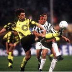 ITALY - MAY 19:  FUSSBALL: Finale UEFA - CUP JUVENTUS TURIN - BORUSSIA DORTMUND 3:0 19.05.93, Stephane CHAPUISAT/Juergen KOHLER  (Photo by Bongarts/Getty Images)