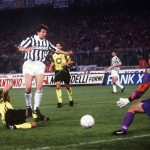ITALY - MAY 19:  FUSSBALL: Finale UEFA - CUP JUVENTUS TURIN - BORUSSIA DORTMUND 3:0 19.05.93, 3:0 TOR Andreas MOELLER/Juventus  (Photo by Bongarts/Getty Images)