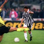 Football. UEFA Cup Final, Second Leg. Turin, Italy. 19th May 1993. Juventus 3 v Borussia Dortmund 0 (Juventus win 6-1 on aggregate). Roberto Baggio of Juventus prepares to shoot.