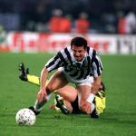 Football. UEFA Cup Final, Second Leg. Turin, Italy. 19th May 1993. Juventus 3 v Borussia Dortmund 0 (Juventus win 6-1 on aggregate). Gianluca Vialli of Juventus attempts to move forward.