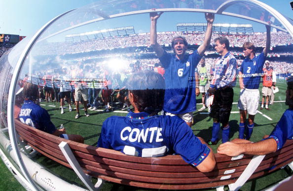 1994 World Cup Semi-Final. New Jersey, USA. 13th July, 1994. Italy 2 v Bulgaria 1. Italy's Franco Baresi with other players on the Italian bench during the match