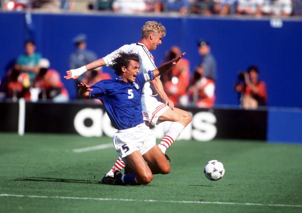 1994 World Cup Finals. New Jersey, USA. 23rd June, 1994. Italy 1 v Norway 0. Italy's Paolo Maldini battles for the ball with Norway's Jostein Flo.